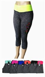 48 Units of Womens Sports Leggings High Rise Squat Proof Stretch Assorted Floral - Womens Active Wear