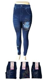 48 Units of Womens Jean Look Jeggings Tights Slimming Spandex Leggings Pants Capri - Womens Pants