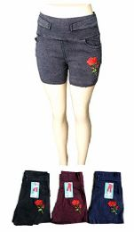 48 Units of Womens Solid Color Ultra Stretch Fitted Low Rise Shorts - Womens Shorts