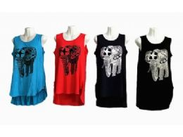 48 Units of Sleeveless Basics Tunic Round Neck Swing Flowy Long Tank With Elephant - Womens Camisoles & Tank Tops