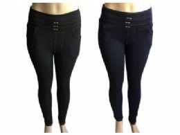 48 Units of Womens Fur Lined Denim Look Straight Fit Pants - Womens Pants