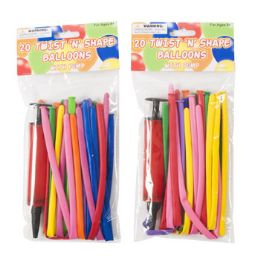 36 Units of Balloon Twist N Shape 20pc With Pump 11.8 Inch - Balloons & Balloon Holder