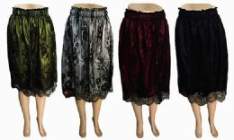 120 Units of Womens Lace Skirts Waistband Scalloped Floral Laced Midi Skirt For Women - Womens Skirts