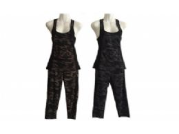 96 Units of Womens Two Piece Tank Top Gym Set - Womens Active Wear