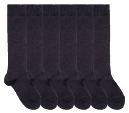 6 Units of Yacht & Smith Womens Knee High Socks, Size 9-11 Solid Navy - Womens Knee Highs