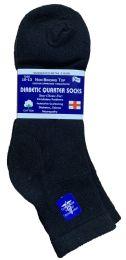 6 Units of Yacht & Smith Men's Loose Fit NoN-Binding Soft Cotton Diabetic Quarter Ankle Socks,size 10-13 Black - Men's Diabetic Socks
