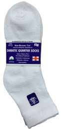 6 Units of Yacht & Smith Women's Diabetic Cotton Ankle Socks Soft Non-Binding Comfort Socks Size 9-11 White - Women's Diabetic Socks