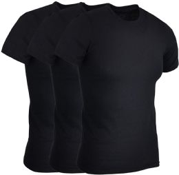 3 Units of 3 PACK MENS COTTON CREW NECK SHORT SLEEVE T-SHIRTS BLACK, 4XL - Mens T-Shirts