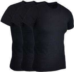 3 Units of 3 PACK MENS COTTON CREW NECK SHORT SLEEVE T-SHIRTS BLACK, 2XL - Mens T-Shirts