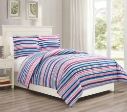 12 Units of 3 Pieces Mini Set In FULL/QUEEN - Pink Stripes Design - Comforters & Bed Sets