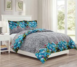 12 Units of 3 Pieces Mini Set In King - Teal Leopard Design - Comforters & Bed Sets