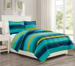 12 Units of 3 Pieces Mini Set In KING - Teal Stripes Design - Comforters & Bed Sets