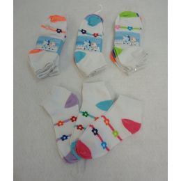 360 Units of Girl's Anklet Socks 6-8 [Stripes & Daisies] - Girls Ankle Sock