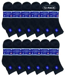 12 Units of Yacht & Smith Men's Loose Fit Non-Binding Soft Cotton Diabetic Quarter Ankle Socks,Size 10-13 Black - Men's Diabetic Socks