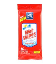 48 Units of LUCKY WET WIPES 16 CT ANTIBACTERIAL HAND CLEANSING KILLS GERMS - Hand Sanitizer