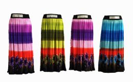 48 Units of Womens Long Skirt Tutu Swing Skirts Pleated High Elastic Waist Midi Skirt Flowing Assorted - Womens Skirts