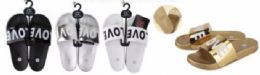 36 Units of Womens Open Toe Sandal With Love Print - Women's Slippers