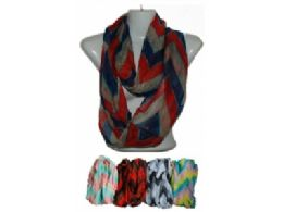 144 Units of Womens Fashion Chevron Print Infiniti Scarf - Womens Fashion Scarves