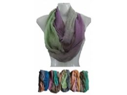 144 Units of Womens Fashion Colorful Tie Dye Infiniti Scarf - Womens Fashion Scarves