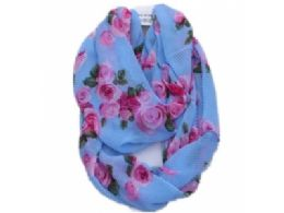 144 Units of Womens Fashion Colorful Floral Infiniti Scarf - Womens Fashion Scarves