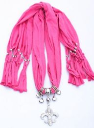 120 Units of Womens Fashion Charm And Pendant Scarf In Pink - Womens Fashion Scarves