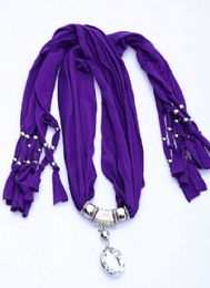 120 Units of Womens Fashion Charm And Pendant Scarf In Purple - Womens Fashion Scarves
