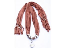 120 Units of Womens Fashion Charm And Pendant Scarf In Blush - Womens Fashion Scarves