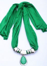 120 Units of Womens Fashion Charm And Pendant Scarf In Green - Womens Fashion Scarves