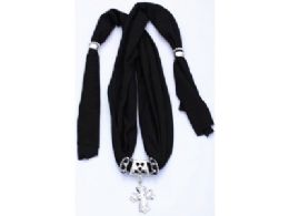 120 Units of Womens Fashion Charm And Pendant Scarf In Black - Womens Fashion Scarves