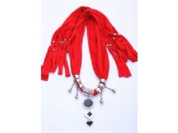 120 Units of Womens Fashion Charm And Pendant Scarf In Red - Womens Fashion Scarves