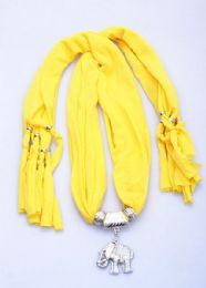 120 Units of Womens Fashion Charm And Pendant Scarf In Yellow - Womens Fashion Scarves