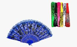 120 Units of Floral Folding Hand Fan Flowers Pattern Lace Handheld Fans - Novelty & Party Sunglasses