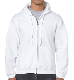 24 Units of Cotton Plus Adult White Hooded Zipper, Size Small - Mens Sweat Shirt