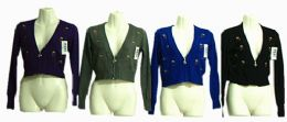 120 Units of Womens Cropped Cardigan V Neck Button Down Knitted - Womens Sweaters & Cardigan