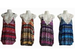 120 Units of Womens Summer Sleeveless Casual Tank Tops Basic Lace - Womens Fashion Tops