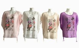 48 Units of Womens Short Sleeve High Low Loose T Shirt Basic Tee Tops - Women's T-Shirts