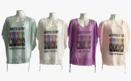 48 Units of Womens Short Sleeve Guitar Loose T Shirt Basic Tee Tops - Women's T-Shirts