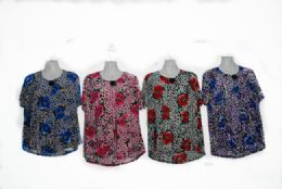 48 Units of Womens Blouse Short Sleeve Floral Print T Shirt Comfy Casual Tops For Women - Womens Fashion Tops