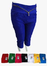 48 Units of Womens Ultra Thin Stretch Cropped Capris Lace With Zipper - Womens Capri Pants