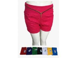 48 Units of Womens Ultra Thin Stretch Shorts Lace With Zipper - Womens Shorts