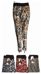 48 Units of Winter Thick Warm Long Pants Animal Print - Womens Pants