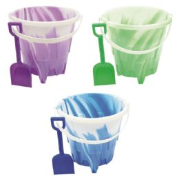 48 Units of Eight Inch Round Castle Pail With Shovel - Beach Toys