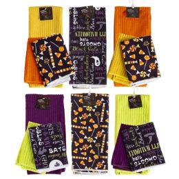 48 Units of Microfiber Halloween Kitchen TextilE- 2pk Dishcloth/1pk Towel - Kitchen Towels