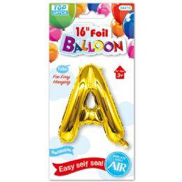96 Units of Sixteen Inch Balloon Gold Letter A - Balloons & Balloon Holder