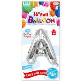 96 Units of Sixteen Inch Balloon Silver Letter A - Balloons & Balloon Holder