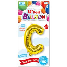 96 Units of Sixteen Inch Balloon Gold Letter C - Balloons & Balloon Holder