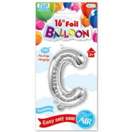 96 Units of Sixteen Inch Balloon Silver Letter C - Balloons & Balloon Holder
