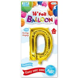 96 Units of Sixteen Inch Balloon Gold Letter D - Balloons & Balloon Holder