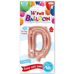 96 Units of Sixteen Inch Balloon Rose Gold Letter D - Balloons & Balloon Holder