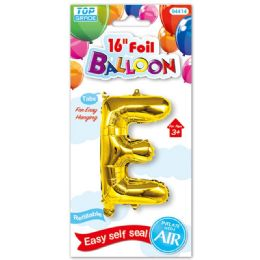 96 Units of Sixteen Inch Balloon Gold Letter E - Balloons & Balloon Holder